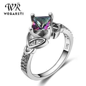 WERGARSTI Silver 925 Jewelry Women's Ring Rainbow Mysterious Flame Fing Topaz Ring Women's Wending's Gift Wholesale Size 6-10
