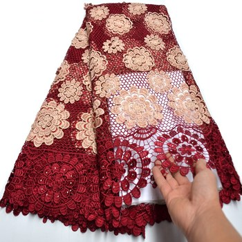 african guipure lace new fashion water soluble chemical lace fabric,high quality african cord lace free shipping Ki081