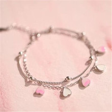 925 sterling silver Hand catenary Flowers pink peach blossom in the ramp Womens fashion jewelry