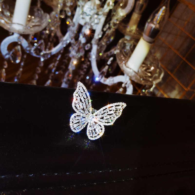 Desain Baru Fashion Perhiasan Buka Bermutu Tinggi Tembaga Bertatahkan Zircon Kupu-kupu Berkilau Mewah Pesta Koktail Cincin untuk Wanita