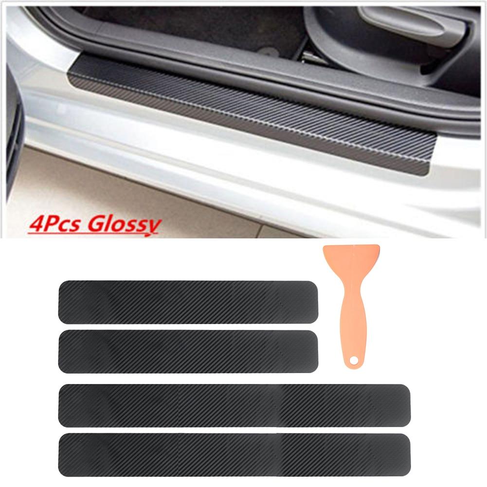 4PCS 3D Carbon Fiber Look Auto Door Sill Scuff Threshold Protector Sticker Cover