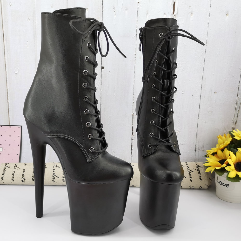 Leecabe Black PU Color 20CM/8Inch Women's Platform Sandals  Party High Heels Shoes Pole Dancing Boot