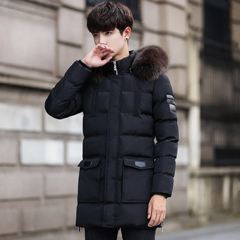 Winter Plus Velvet Thick Warm Hoodie Men's Mid-length Trench Coat Teenager-Style Coat Cotton-padded