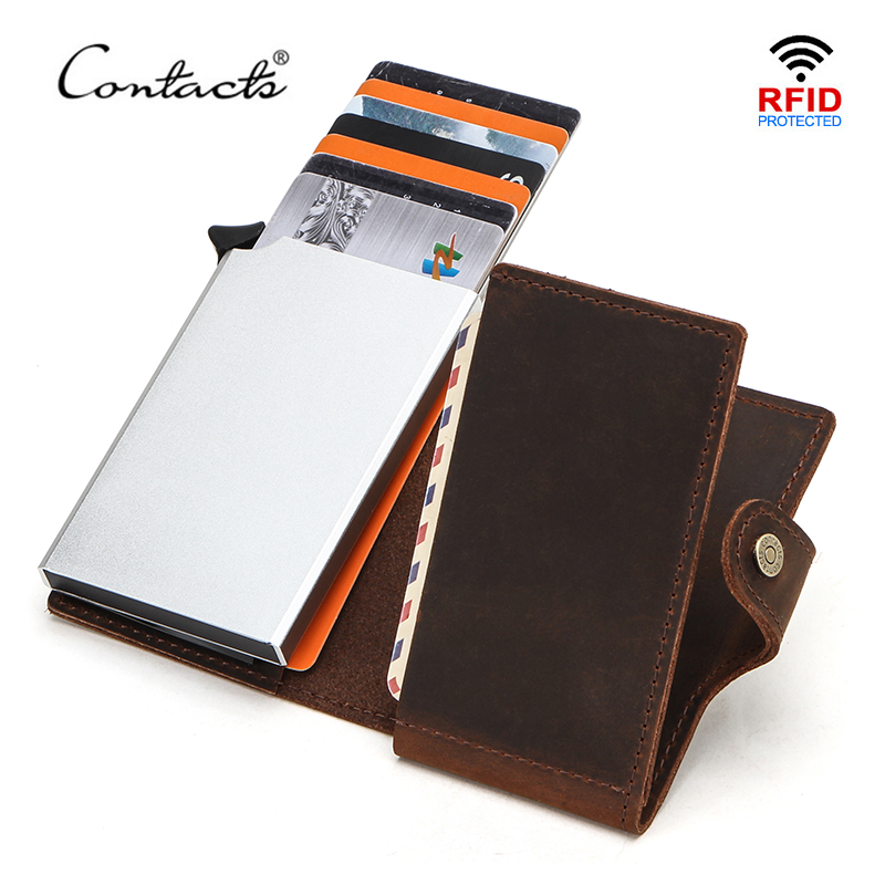 CONTACT'S RFID Blocking Crazy Horse Leather Men Wallet Credit Card Holder Aluminium Box For Men Women Automatic Pop Up Card Case