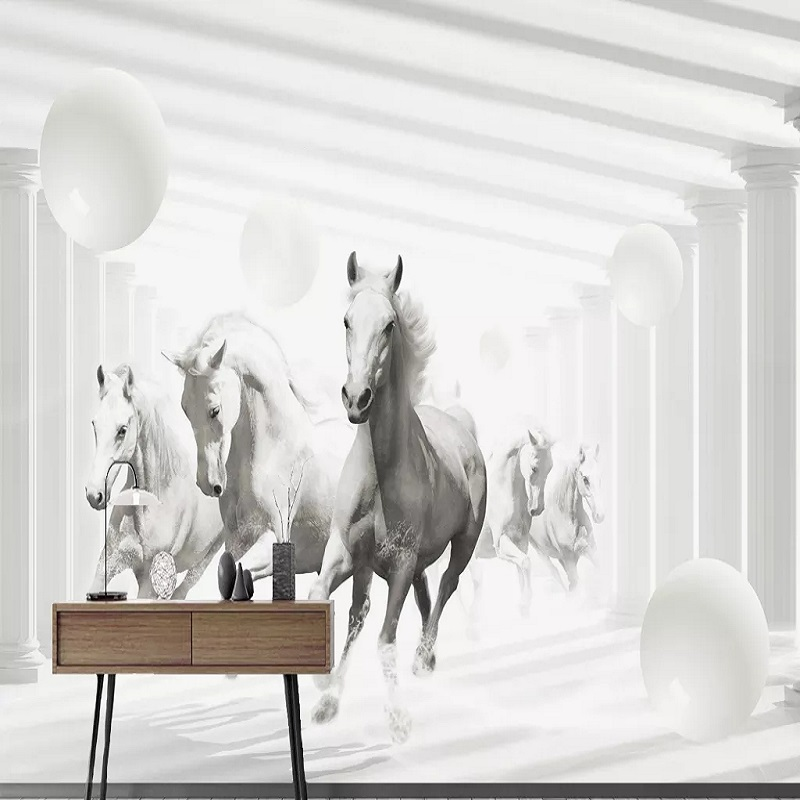 Custom Large Mural 3D Wallpaper Modern Creative 3D Expands Space To Run Horse Sphere Living Room TV Wall Decor Deep 5D Embossed