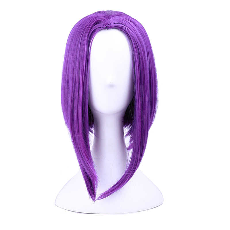 Teen Titans Raven Cosplay Anime Wig Purple short Medium Straight Synthetic wig