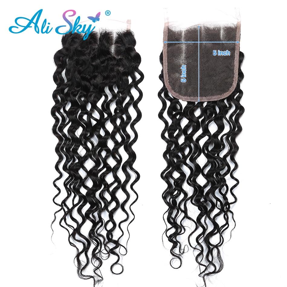 Alisky cabelo onda de água pacotes com fechamento tecer cabelo brasileiro 4 pacotes com 5x5 fechamento cor natural remy extensão do cabelo - 4
