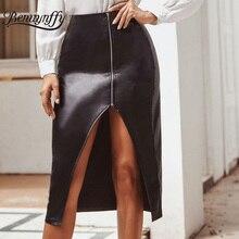 Benuynffy, сексуальная юбка миди с разрезом на молнии, Осень-зима, женские вечерние юбки с высокой талией, женская черная юбка-карандаш из искусственной кожи