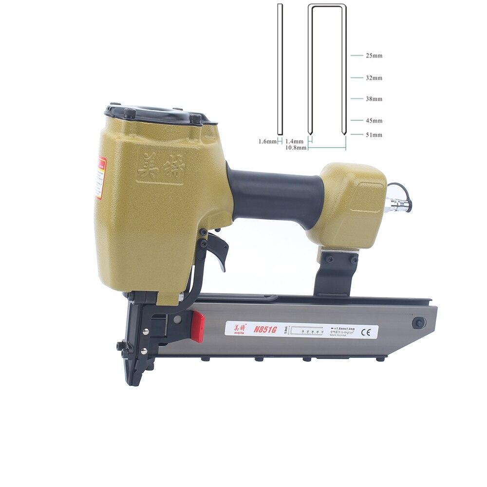 meite N851G Air Naier 16GA Heavy Duty Stapler Pneumatic Staple Nailer Gun Wood Working Tools For Furniture 51mm U Type Nails