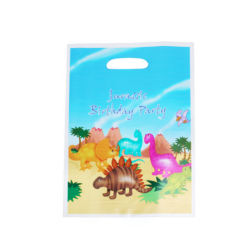 Kids Boys Favors Cute Dinosaur Theme Baby Shower Party Plastic Loot Bags Happy Birthday Events Decorations Gifts Bags 10pcs/lot