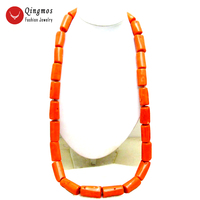 Qingmos Natural 15 20mm Thick Slice Orange Coral Coral Necklace for Women with Genuine Graduate Coral Necklace 35 Long Necklace