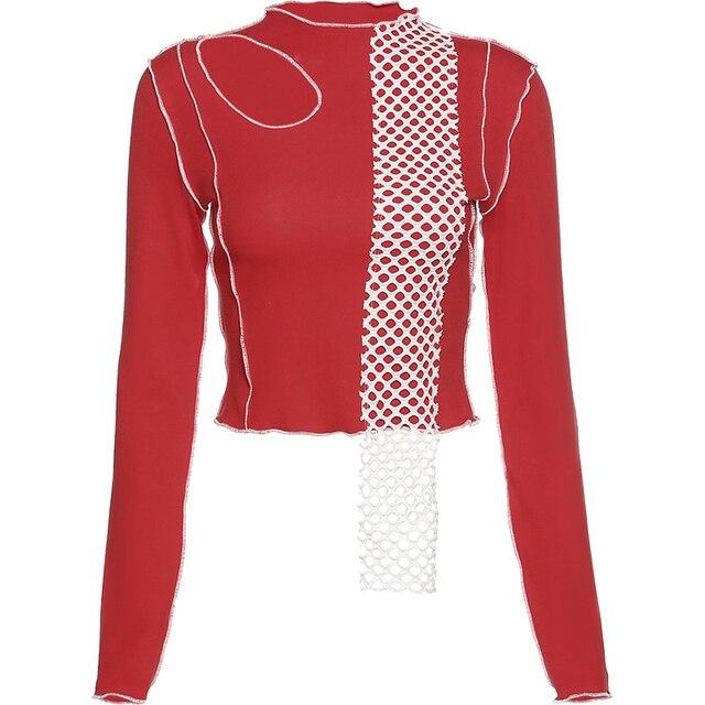 KLIOU – chemise à col mi-haut pour femme, haut porté à même la peau, design sense, ligne ouverte irrégulière, amincissant, haut soigné, machine, clavicule