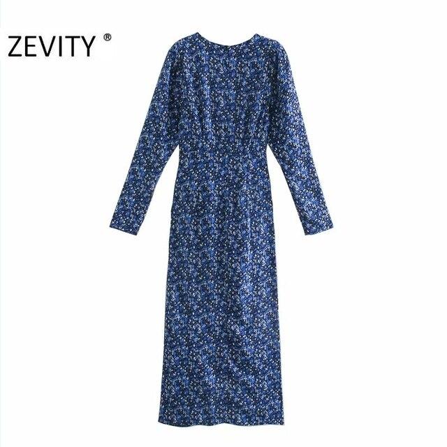 ZEVITY New Women Vintage V Neck Flower Print Pleated Shirtdress Ladies Long Sleeve Back Zipper Vestido Chic Split Dresses DS4516 2