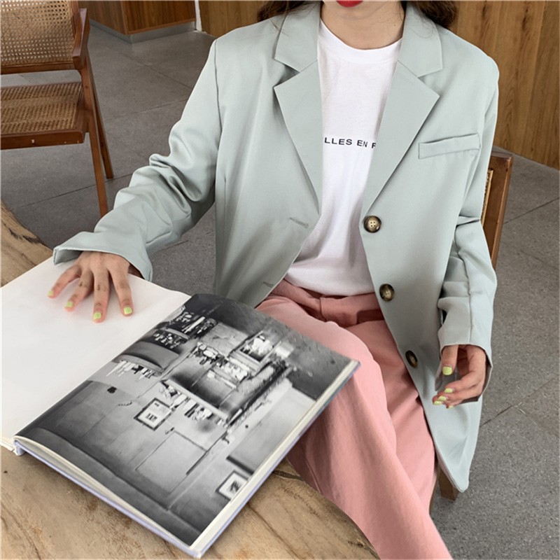 Casual Loose Light Green Women Jacket Single-breasted Pockets Women Blazer 2019 Autumn Elegant Notched Female Blazer Outerwear