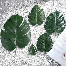 1Piece Artificial fake Monstera palm Leaves leaf-shaped green plants wedding DIY decoration cheap Flowers arrangement plant leaf(China)