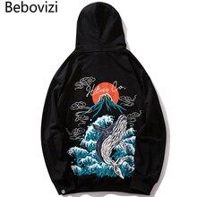 Bebovizi Harajuku Hip Hop Whale Mount Fuji Wave Print Hoodies Japan Streetwear Hoodie Casual Japanese Men Sweatshirt