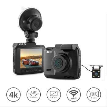 Dual lens Wifi Car DVR camera video Recorder Novatek 96660 Built in GPS 4K Dash Cam 2880x2160P dual cameras for front and rear image