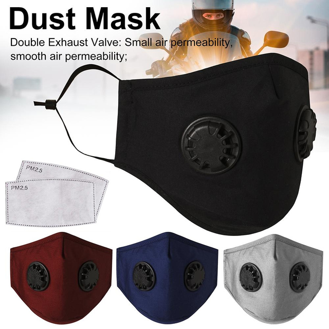 Tcare Double Valve Adults PM2.5 Mouth Mask With 2 Replaceable Filters Mask Anti Dust Pollution Protective Breathable Face Mask 5