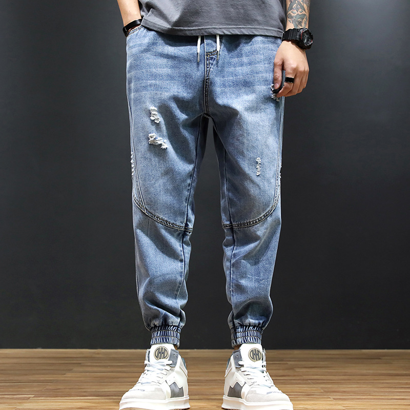 Workwear MEN'S Jeans 2019 Spring New Style Multi-pockets Loose Straight Beam Leg Men Elastic Waist Casual Pants