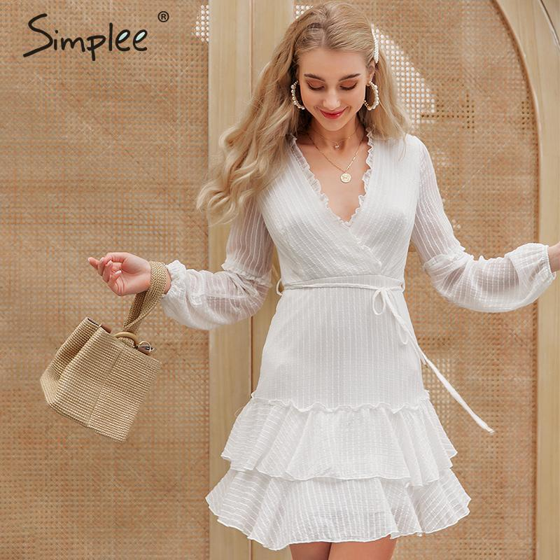 Simplee Sexy Ruffled Party Dress V-neck Puff Sleeve Chiffon Women Summer Dress Beach Hollow Out Sash Ladies Chic Mini Dress