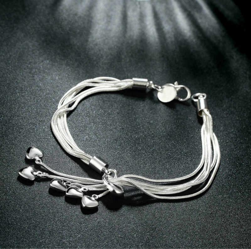 בוהמי צמיד 925 כסוף מצופה ציצית צמיד אופנה רב שכבתי תליית לב צמיד תכשיטים