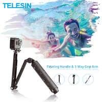 TELESIN étanche Selfie bâton flottant poignée + 3 voies poignée bras monopode pôle trépied pour GoPro Xiao YI SJCAM DJI Osmo Action
