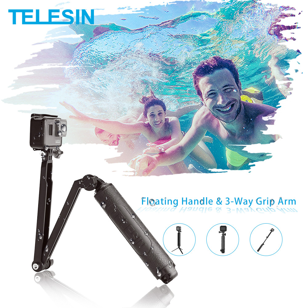 TELESIN Waterproof Selfie Stick Floating Hand Grip +3-Way Grip Arm Monopod Pole Tripod for GoPro Xiao YI SJCAM DJI Osmo Action-0