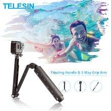 Telesin Waterdichte Selfie Stok Floating Hand Grip + 3 Way Grip Arm Monopod Pole Statief Voor Gopro Xiao Yi sjcam Dji Osmo Action