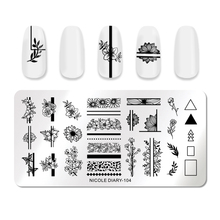 NICOLE DIARY Geometric Nail Stamping Plates Rectangle Flower Leaves Design Image Nail Art Stamp Stencils  Templates