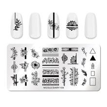 NICOLE TAGEBUCH Geometrische Nagel Stanzen Platten Rechteck Blume Blätter Design Bild Nail art Stempel Schablonen Vorlagen