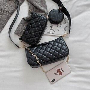 Image 4 - Bolso de hombro con cadena de celosía de diamante de lujo para Mujer, conjunto de Bolsos a cuadros de cuero PU y monederos, bolso Vintage con solapa sólida, Bolsos para Mujer
