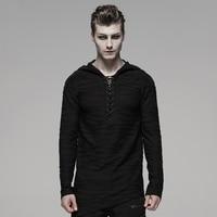 PUNK RAVE Men's Gothic Dark Irregular Hoddie Stripe Knitted And Patchwork Velvet Top Handsome Casual Long Sleeve Mens Shirt