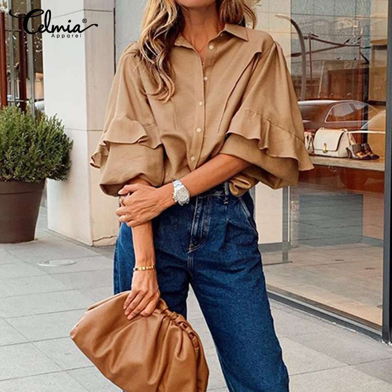Women Tops And Blouses Celmia New Fashion Lapel Neck Long Sleeve Ruffles Shirts Ladies Casual Loose Buttons Office OL Blusas 5XL
