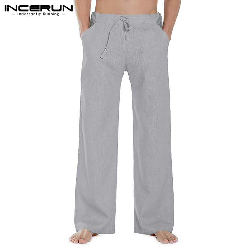 INCERUN Fashion Men Straight Pants Drawstring Streetwear Solid Color Casual Trousers Harajuku Joggers Pantalones Hombre S-3XL