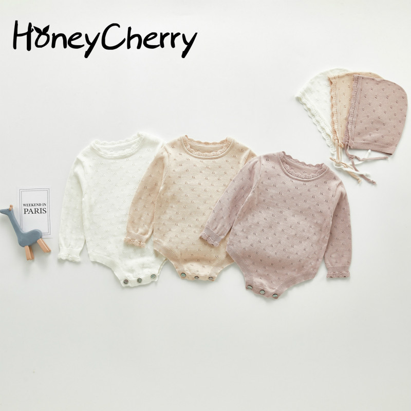 2020 Baby Knitting Bodysuit Long Sleeve Knitting One Piece Baby Girl Triangle Creeper Bodysuit Have Hat