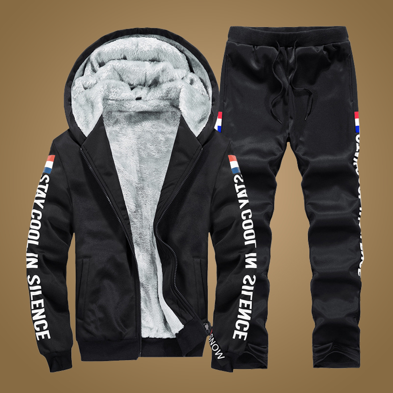 Winter Tracksuit Men Brand Casual Sportswear Set Male Two Pieces Cotton Fleece Thick Jacket Coat Pant Mens Jogger Outfit Sets