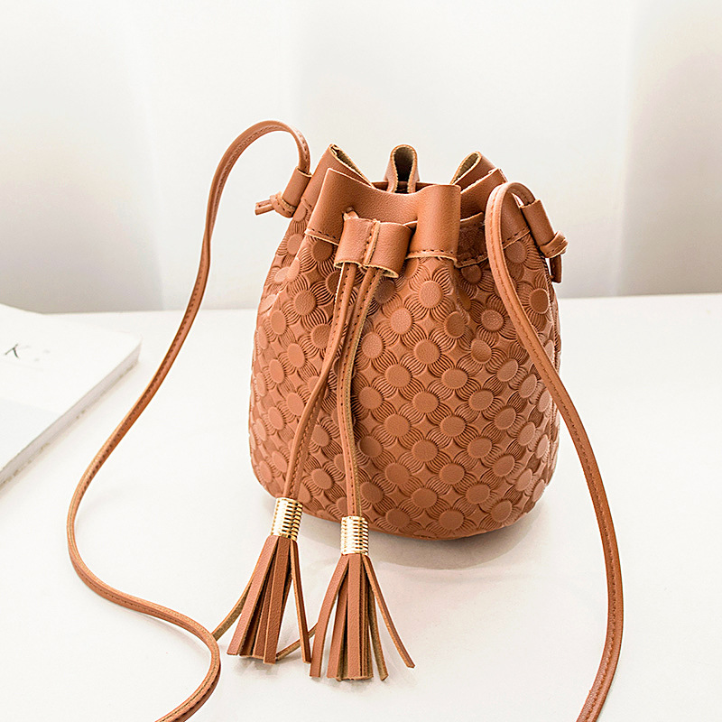 Women's Embossing Double Tassels Bucket Bag 2020 Korean-style New Products Crossbody/shoulder Bag Purse