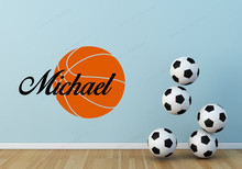 Removable Basketball Custom Name Wall  Vinyl Sticker personalized basketball Kids Room wall Decor JH126