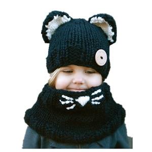 Image 3 - ชายหญิงเด็ก Cat หมวกผ้าพันคอสัตว์แมว Earmuffs หมวกเด็กมือถักคออุ่นหมวกฤดูหนาวเด็กทารกเด็กผู้หญิงหมวก