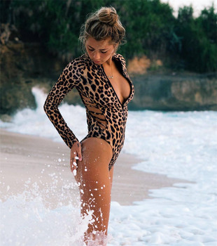 Long Sleeved, Rash Guard, Snake Skin, Leopard Print, Zippered One Piece Swimsuit 15
