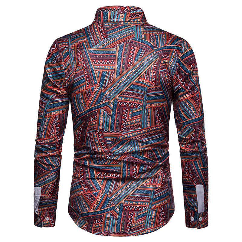 Vintage Ethnic Print Casual Shirt Men Camisas 2019 Autumn New Mens Slim Fit Button Down Dress Shirts Business Men Social Shirt