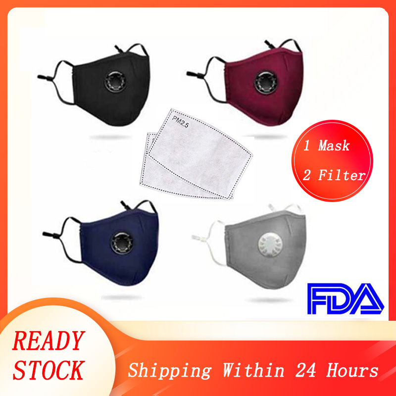 FFP3 Mask Filter Towel Unisex Cotton With Breath Valve PM2.5 Mouth Mask Anti-Dust Activated Carbon Mask Filter Respirator FFP2