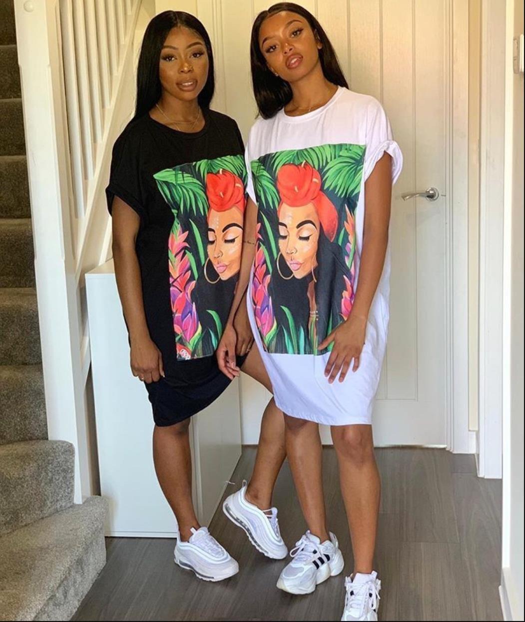 Africa T Shirt Dress Women Short Sleeve Character Print Tunic Mini Streetwear Dress Autumn Ladies Loose Short Casual Dress