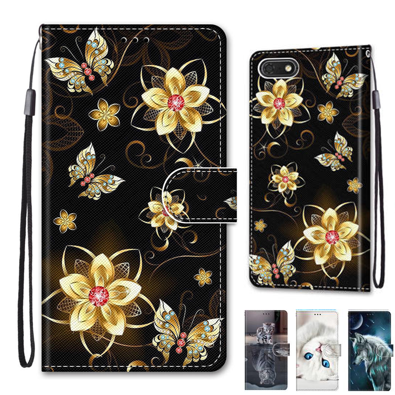 Phone Cover For Huawei <font><b>Honor</b></font> 7A <font><b>DUA</b></font>-<font><b>L22</b></font> 5.45 inch <font><b>Case</b></font> Wallet Leather Box Tower Cat for <font><b>Honor</b></font> <font><b>7S</b></font> <font><b>Case</b></font> Flip Shell Bags image