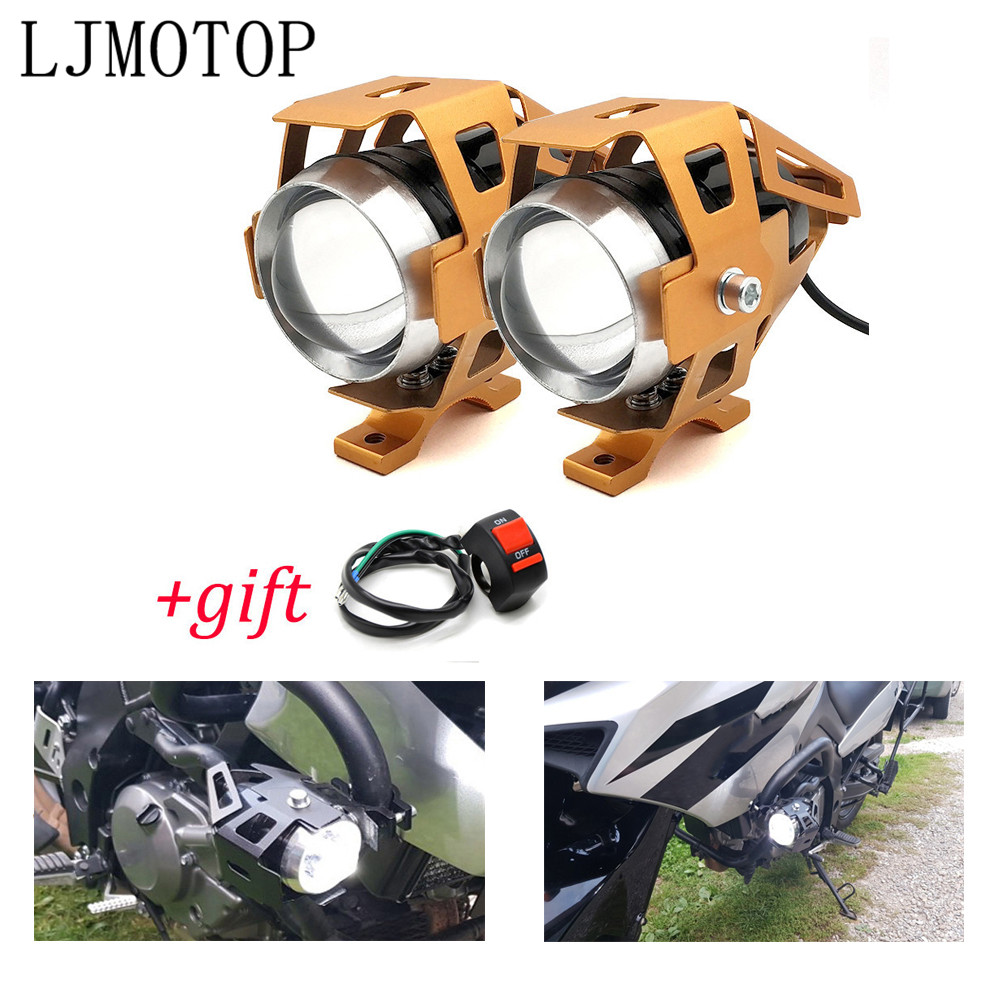 Motorcycle 12V <font><b>LED</b></font> <font><b>Headlights</b></font> Auxiliary Lamp U5 Spotlight Motorbike For Kawasaki ZX 12 6 R Z 650 900 800 250 <font><b>300</b></font> <font><b>NINJA</b></font> 250 <font><b>300</b></font> R image