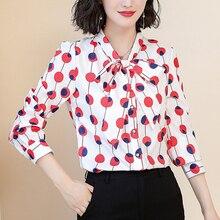 Fashion Autumn Women Blouse Shirts Blusas Mujer De Moda Elegant Woman Chiffon Bow Dot Shirt Plus Size