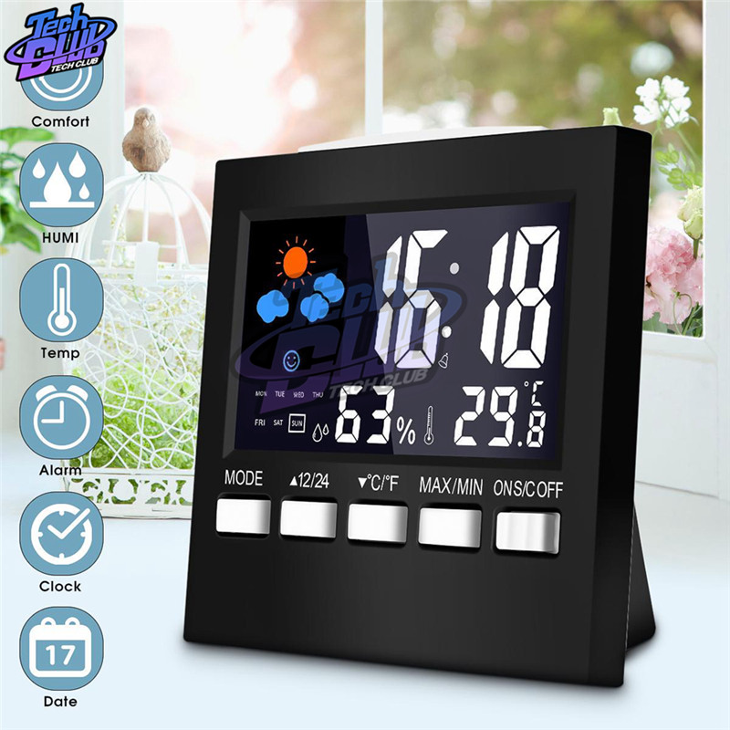 Digital Alarm Clock Weather Station LED Temperature Humidity Meter Weather Forecast Snooze Table Clock With Time Projection