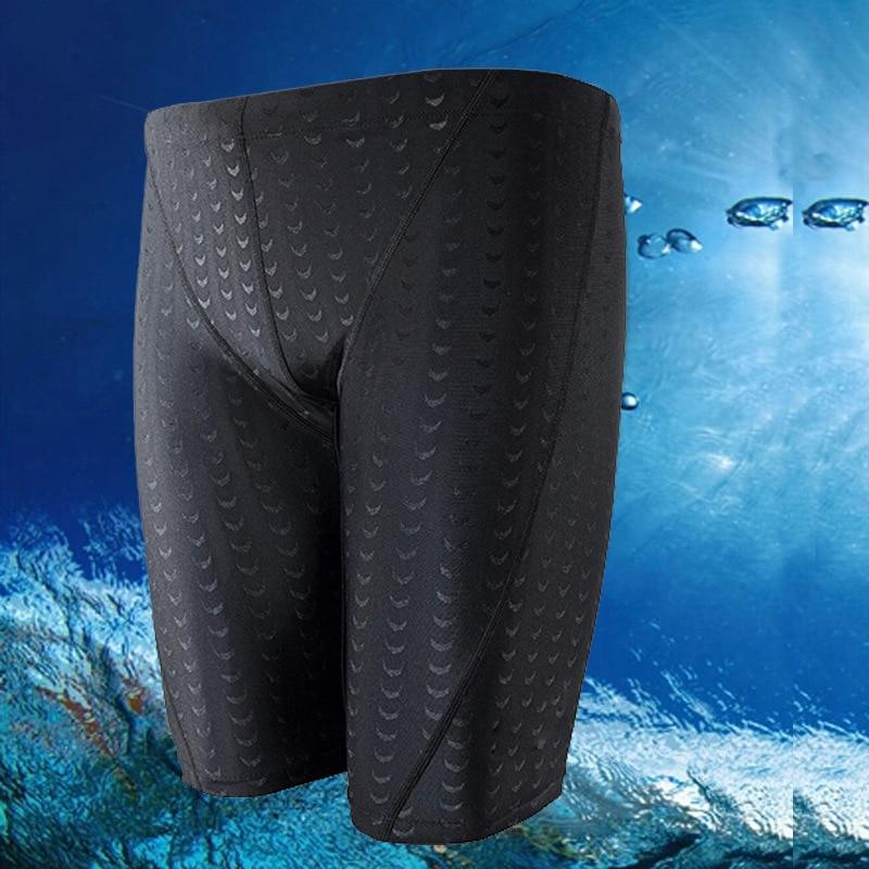 Men Quick-Dry Faux Sharkskin Swimming Trunks Men's Bathing Suit Breathable Large Size Boxer Short Swimming Trunks