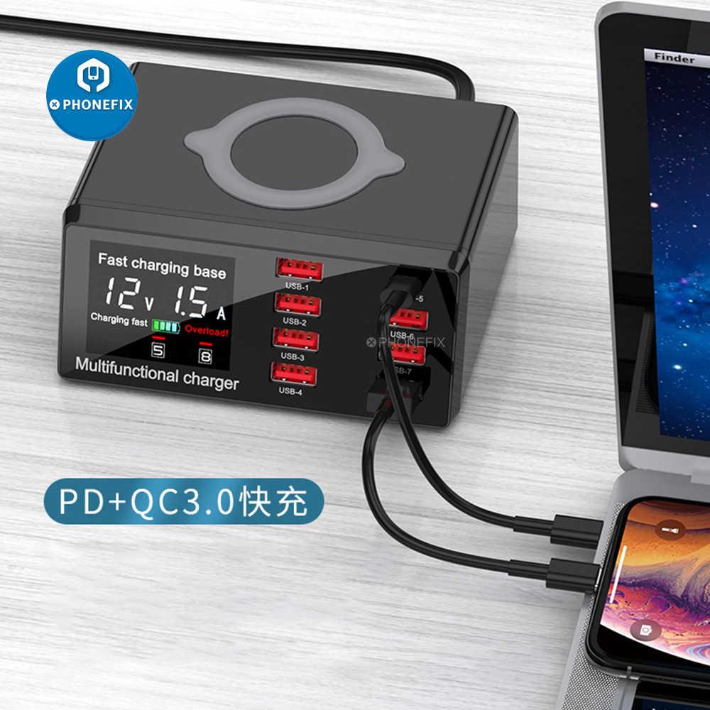 100W 8 Cổng USB Quick Charge 3.0 Adapter HUB Sạc Không Dây Đế Sạc PD Sạc  Nhanh Cho IPhone thiết Bị Di Động Bộ dụng cụ điện
