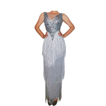 Sparkly Rhinestones Fringe Transparent Bodysuit Dance Birthday Celebrate Sleeveless Long Dress Outfit Women Singer Outfit(China)